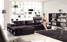 Advanced Adjustable Modern Leather L-shape Sectional with Pillows Kansas Missouri [IGVT132] : Prime Classic Design, Italian modern furniture: luxury designer and genuine leather sectionals, dining room and bedroom sets distributor