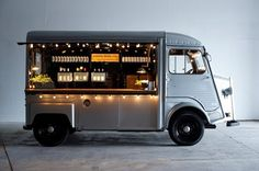 If you want a food truck or mobile bar at your wedding, look no further. We've rounded up the best options that can roll up to your celebration and serve fun food and drink options. Mobile Bar, Mobile Shop, Coffee Carts, Coffee Truck, Coffee Van, Coffee Shop, Food Trucks, Streetfood Market, Citroen H Van