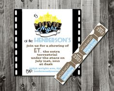 printable invitations & movie tickets for family movie night or neighborhood backyard movies
