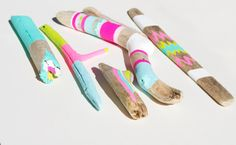 Driftwood Art - 6 Piece Painted Sticks - Neon, Pastel, Chevron, Triangles, Ikat, Color Block - Tribal Inspired Pattern, Geometric Chinoiserie, Summer Shades, Girly, Painted Sticks, Driftwood Art, Decoration, Ikat, Wood Crafts, Purple