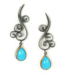 visit www.youtubepersianmusic.com Persian Turquoise Drop Earrings by Natasha Wozniak || Persian Turquoise, blackened silver, 22k gold setting $ 410.00