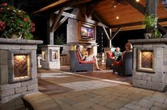 Brussels Block outdoor living room with Brussels Dimensional fireplace