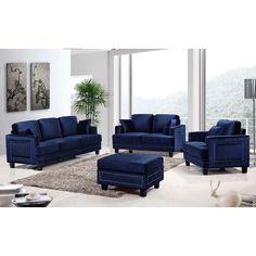 Ferrara Navy Velvet Nailhead Living Room Set