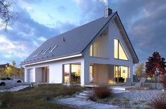 Dostępny 4A - DOMY Z WIZJĄ Modern House Floor Plans, Barn House Plans, Rural House, House In The Woods, Small Modern Home, Modern Farmhouse Plans, Architect House, House Extensions, Home Design Plans