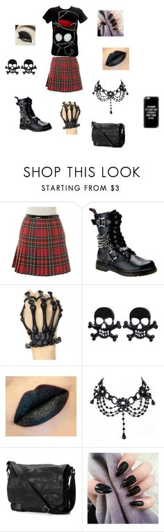 """Gothic School Outfit"" by theavengers353 ❤ liked on Polyvore featuring Dsquared2, Demonia, Frye and Casetify"