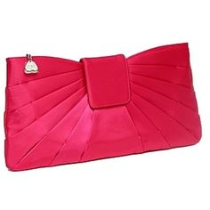 Fuschia pink satin clutch