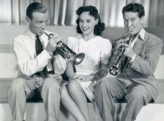 """Fred Astaire, Paulette Goddard and Burgess Meredith in """"Second Chorus"""" (1940)"""