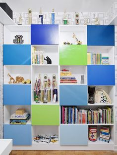 Contemporary shelving for toys, books and games --> http://www.hgtv.com/designers-portfolio/room/contemporary/kids-rooms/7509/index.html#/id-8205/room-kids-rooms?soc=pinterest