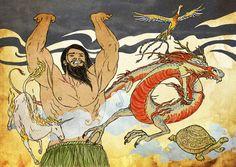 Aquí separa el Cielo y la Tierra mientras crece, durante miles de años, y los cuatro seres lo ayudan: el Fénix (o Fenghuang), el Dragón, la Tortuga y el Unicornio