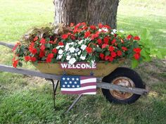 Red and white impatients in wheel barrow.. I would add blue lobelia too!