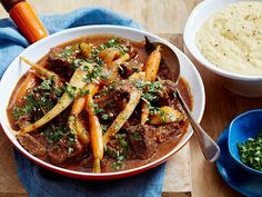 Warm your body and soul with this hearty red wine beef and vegetable casserole. Try it served over creamy, cheesy polenta and a zesty homemade gremolata.