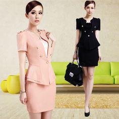 2013 das mulheres desgaste do trabalho fino terno de saia uniforme preto e rosa Blazer e saia para o Office Ladies Formal terno de negócio carreira define