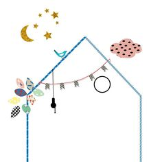 Hippe muursticker in de vorm van een huisje met leuke details van het originele Franse merk Mimilou Washi Tape Wall, Masking Tape, Kids Stickers, Wall Stickers, Nursery Decor, Bedroom Decor, Beach Kids, Baby Crafts, Projects For Kids