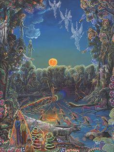 Bathing Mermaids, Orange Moon and 3 Angels
