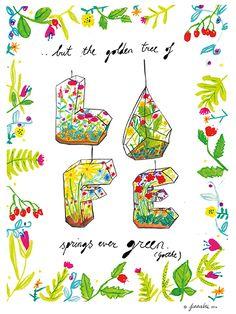 'Life Springs' by Fennabee ©2014 #gts2014 #terrarium #illustration #green #plants #quote #watercolour #colourlovers #lillarogers