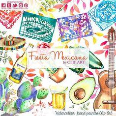 Fiesta Cute Digital Clipart, Spanish Mexican Clipart, Mexican Graphics, Cinco de Mayo Graphics, Sombrero Clip art, Fiesta Clip Art, Maracas