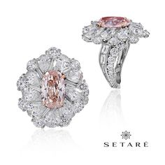 5a99cfb3185d An oval array of shimmering diamonds woven around a luscious pink diamond.   setaré