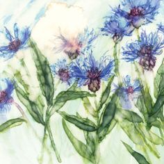 Cornflower at Whistlefish - handpicked contemporary & traditional art that is high quality & affordable. Watercolor Techniques, Watercolor Paintings, Floral Paintings, Watercolors, Gifs, Traditional Art, Painting Inspiration, Poppies, Art Gallery