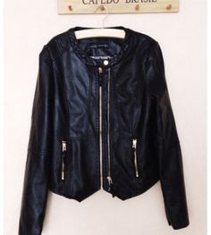 Black Long Sleeve Crew Neck PU Leather Jacket