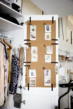 Pick your looks for the week and post them onto AVSKILD place mats mounted on the back of your wardrobe door.
