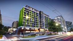 Nočná vizualizácia projektu Miletičová 60 Multi Story Building
