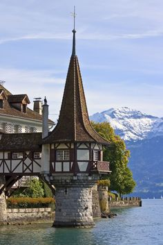 Tower of the Oberhofen castle on the lake of Thun - interlaken Switzerland