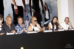 """L-R The Rock, Paul Walker, Vin Diesel, Jordana Brewster and Neal Moritz at the press conference of """"Fast and Furious 5"""" held at the Copacabana Hotel in Rio De Janeiro."""