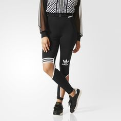 Designed in collaboration with singer and style icon Rita Ora, the design of these women's leggings takes inspiration from trapeze artists' costumes. Skin-baring cut outs appear asymmetrically in a body-hugging silhouette. Finished with 3-Stripes bands at the waist and knee.