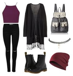 """Autum"" by neverland-dcx on Polyvore featuring H&M, Topshop, Dr. Martens, T-shirt & Jeans and Wet Seal"