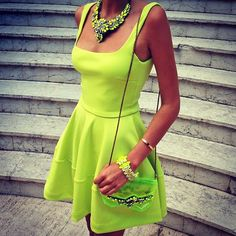 Adorable Electric Lime Summer Sleeveless Dress