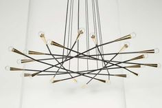 Rewire Custom Multi Arm Flat Chandelier | From a unique collection of antique and modern chandeliers and pendants at https://www.1stdibs.com/furniture/lighting/chandeliers-pendant-lights/