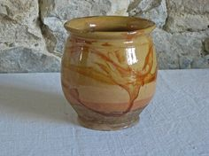 Antique French confit pot  marble glazed terracotta by Histoires