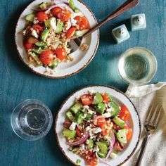 Whole-Grain Salad Recipes: Greek Tomato and Cucumber Salad with Farro | CookingLight.com