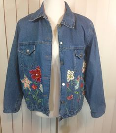 Vintage Jean Jacket with Embroidered Flowers, Crochet and Cotton Appliqued Flowers Hand Beaded by Country Door, Ladies Large by Oldtonewjewels on Etsy