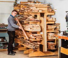 Freestanding Lumber Rack Garage Organisation, Garage Tool Storage, Garage Storage Cabinets, Workshop Storage, Home Workshop, Built In Storage, Garage Tools, Organization, Lumber Storage Rack