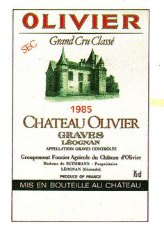 Chateau Olivier Graves 1968 Wine Label