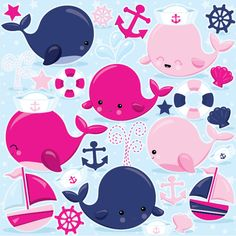 Pink Nautical Whales clipart commercial use, pink whale vector graphics, nautical digital clip art, digital images  - CL971 by Prettygrafikdesign on Etsy