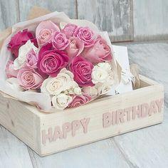 Happy Birthday Cajas con flores