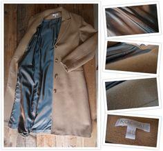 #SOLD #VERKOCHT  #TeKoop #ForSale  Dames wollen mantel. Een absolute klassieker van Franse merk KOOKAI! Getailleerd model met reverskraag, 2 steekzakken met klep, achter. Kleur : cognac /Voeringskleur : satijnachtig koper-blauw /Periode : begint jaren 2000 /Maat : 40 /Materiaal : 70% scheerwol, 10% kasjmier en 20% polyamide /Materiaal voering : 55% acetaat & 45% viscose /Voorlengte (cm) : 76 Achterlengte (cm) : 108 Bovenwijdte (cm) : 47 Mouwlengte (cm) : 62  Rokervrij & Vlekkenvrij