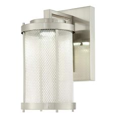 Light up your home's exterior with the Westinghouse Skyview Outdoor Wall Fixture. The eye-catching contemporary design features brushed nickel mesh enclosed in a clear glass cylinder. Includes a integrated LED that will provide beautiful Outdoor Ceiling Lights, Outdoor Wall Lantern, Outdoor Wall Sconce, Outdoor Wall Lighting, Outdoor Walls, Beach Lighting, Island Lighting, Lighting Ideas, Industrial Light Fixtures