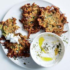 * yum lots of flavor! Zucchini-Herb Fritters with Garlic Yogurt Recipe