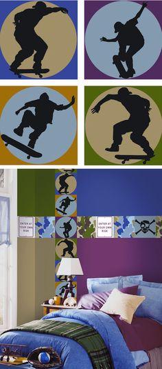 Skateboard Shadow Kidifexs Wall Stickers - Wall Sticker Outlet
