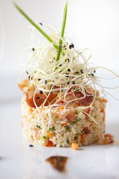 Le nostre specialità: Insalatina di Cous Cous con Brounuase di Verdurine di Stagione confit con Germogli di Aglio novello.    #Toscana #Tuscany #Restaurant #Food