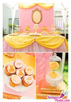 Sloan's 5 bday party Beauty And Beast Birthday, Beauty And The Beast Party, Beauty And The Best, Disney Beauty And The Beast, Girls Party Decorations, Fiesta Decorations, Disney Princess Birthday, Princess Party, Tea Party Birthday