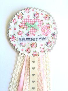 "Handmade ""Birthday Girl"" rosette badge by SelinaJayneWishing on Etsy"