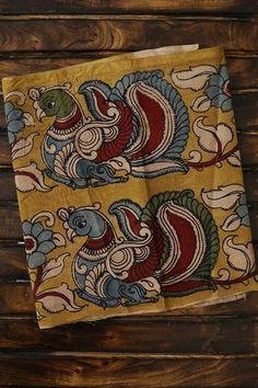 Maroon Handwoven Striped Fabric with Yellow Kalamkari Border Phad Painting, Mural Painting, Fabric Painting, Painting & Drawing, Kalamkari Fabric, Kalamkari Painting, Madhubani Art, Madhubani Painting, Zentangle