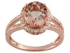 2.40ct Oval Morganite And .49ctw Round White Zircon 18k Rose Gold Over Sterling Silver Ring