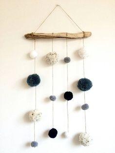 Driftwood Pom Pom Hanging Mobile Decoration Blue by HelCatEmporium