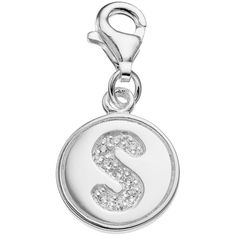 personal charm Sterling Silver Cubic Zirconia Initial Charm ($50) ❤ liked on Polyvore featuring jewelry, pendants, white, white jewelry, cubic zirconia jewelry, sterling silver initial charm, sterling silver letter charms and lobster claw charms