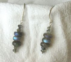 Labradorite Earrings Smooth Rondelles by RocksMapsandCrafts, $27.00